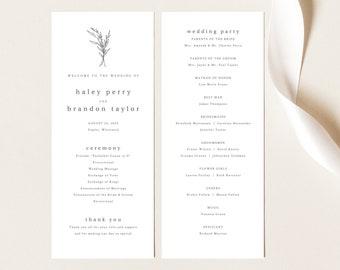 Modern Rustic Wedding Program Template, Try Before Purchase, Editable Program Printable, Templett Instant Download