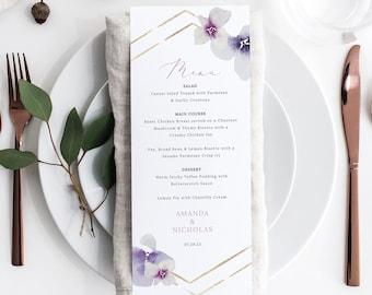 Wedding Menu Card Template, Delicate Lilac Flowers, Wedding Menu, Table Menu, Printable, Purple Hydrangea, Templett INSTANT Download