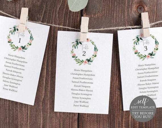 Wedding Seating Chart Template, TRY BEFORE You BUY, Blush Pink Floral Greenery, Editable Instant Download