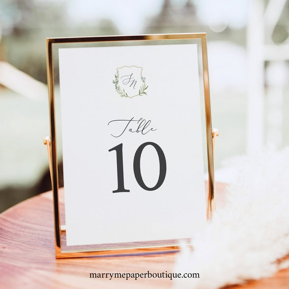 Table Number Sign Template, Greenery Wedding Crest, Printable Wedding Table Number, Templett INSTANT Download, Editable