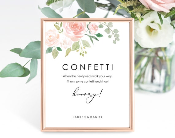 Floral Wedding Confetti Sign Template, Printable Wedding Confetti Sign, Wedding Sign, Editable Confetti Sign, PDF Instant Download, MM08-3