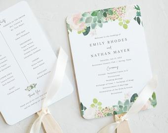 Succulent Floral Wedding Program Fan Template, Greenery, Fan Program Printable, INSTANT Download, Templett, Editable