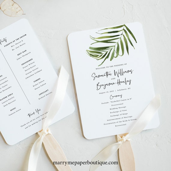 Tropical Wedding Program Fan Template, Greenery Fan Program Printable, Templett, Editable, Instant Download