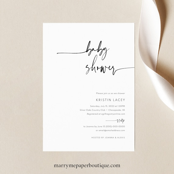 Baby Shower Invitation Template, Modern & Contemporary, Clean Simple Baby Shower Invite, Printable, Templett INSTANT Download, Editable