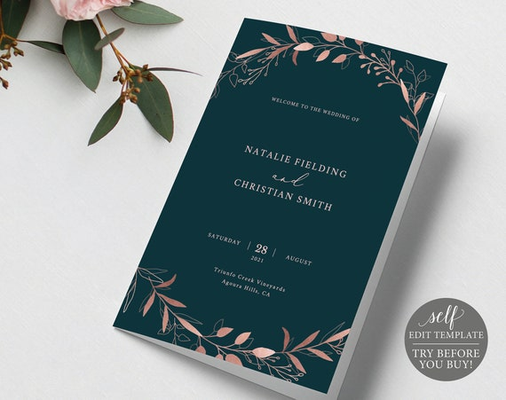 Wedding Program Template, Folded, TRY BEFORE You BUY, Fully Editable Instant Download, Catholic, Rose Gold Navy