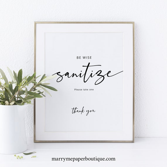 Wedding Sanitize Sign Template, Modern Calligraphy, Fully Editable, Templett INSTANT Download