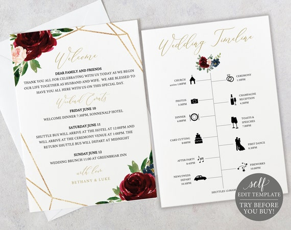 Wedding Itinerary Card Template, Burgundy Geometric, Demo Available, Editable & Printable Instant Download