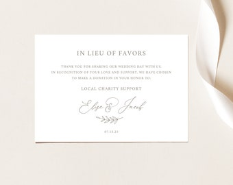 In Lieu of Favors Card Template, Elegant Font, Editable Instant Download, FREE Demo Available