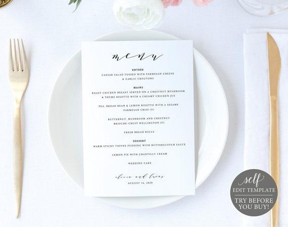 Wedding Menu Template 5x7, Elegant Script, Editable Instant Download, TRY BEFORE You BUY