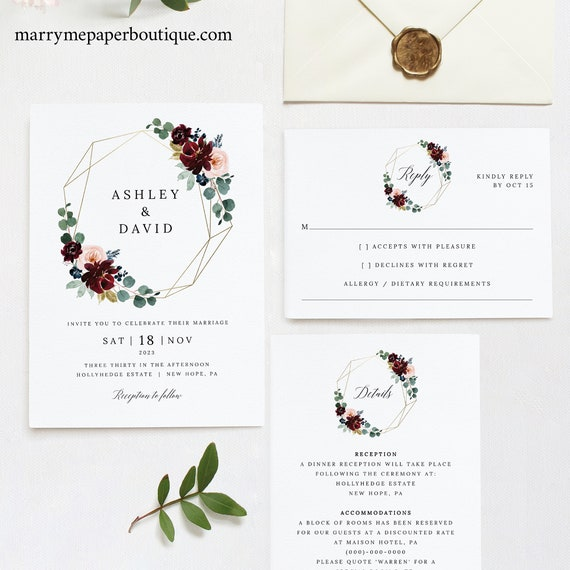 Wedding Invitation Template Suite, Burgundy Floral, Invitation Details & RSVP Card, Printable, Editable, Templett INSTANT Download