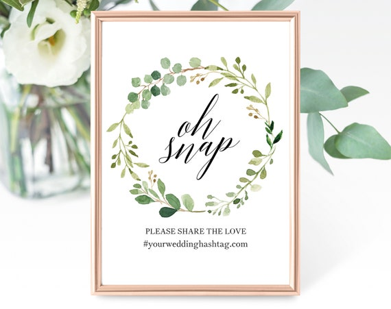 Greenery Wedding Oh Snap Wedding Sign Template, Printable Hashtag Sign, Oh Snap Hashtag Sign Template, PDF Instant Download, MM07-1