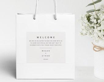 Minimalist Wedding Guest Bag Label Template, Modern Hotel Bag Labels Printable, Templett, Editable, Instant Download