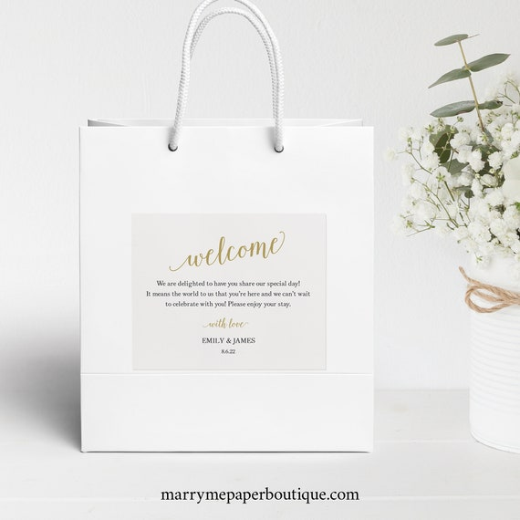 Welcome Bag Label Template, Modern Script Gold, Editable & Printable, Templett Instant Download, Try Before Purchase