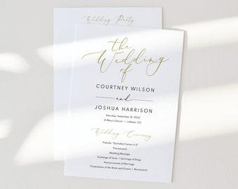 Wedding Ceremony Program Template, Elegant Gold Script, Wedding Program, Printable, Fully Editable, Templett INSTANT Download, 5x7