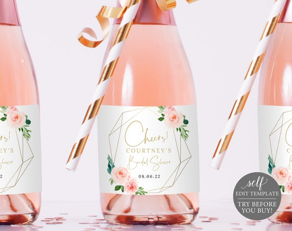 Mini Champagne Label Template, Blush Pink Geometric, Order Edit & Download In Minutes, Try Before Purchase