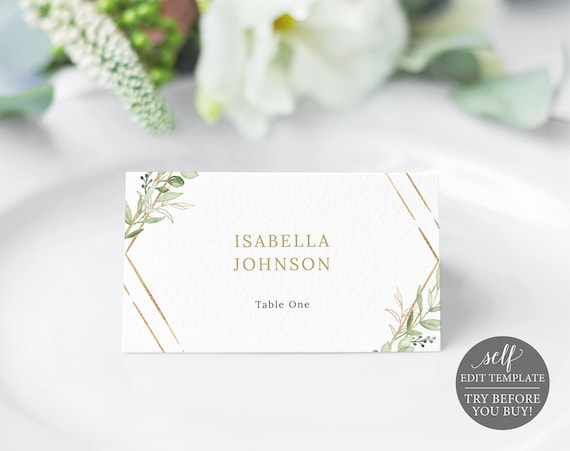 Place Card Template, Greenery Hexagonal, Editable & Printable Instant Download, Templett, TRY BEFORE You Buy