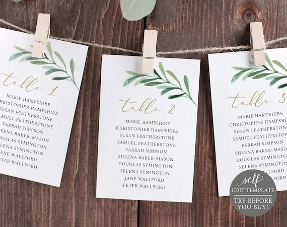 Seating Chart Template Cards, TRY BEFORE You BUY, Editable Instant Download, Greenery Leaf