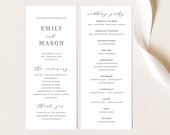 Wedding Program Template, Formal & Elegant, TRY BEFORE You BUY, Editable Instant Download
