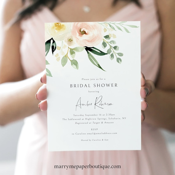 Bridal Shower Invitation Template, Pink Floral Greenery Ivory, Templett Instant Download, Try Before Purchase, Printable Invite