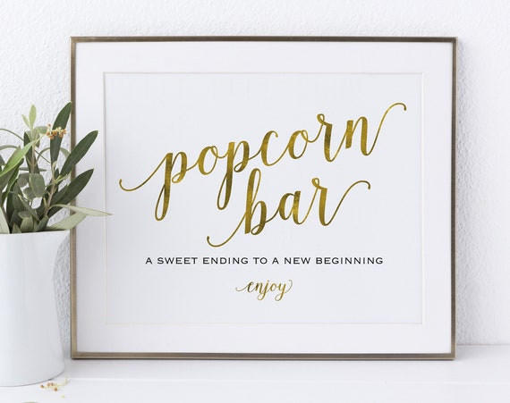 Gold Popcorn Bar Sign, Popcorn Bar Printable, Sweet Ending, Wedding Sign, Wedding Printable, Popcorn Sign, PDF Instant Download, MM01-3
