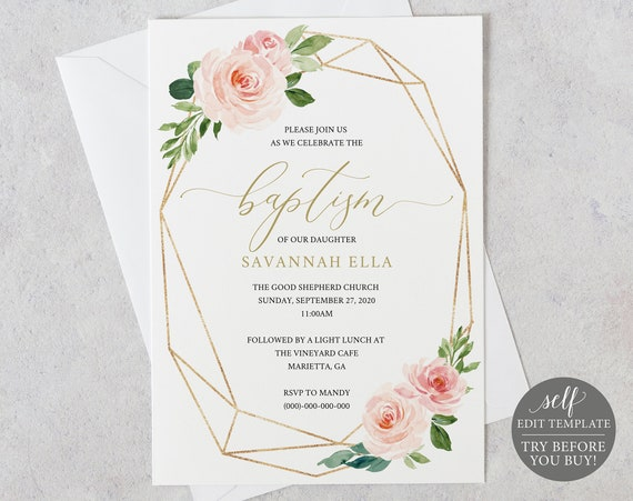 Baptism Invitation Template, Blush Floral Geometric, Fully Editable Instant Download, TRY BEFORE You BUY