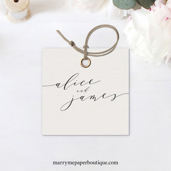 Elegant Square Favor Tag Template, Modern Gift Tag Printable, INSTANT Download, Templett, Fully Editable