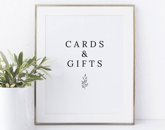 Cards & Gifts Sign Template, Formal Botanical, Instant Download Non-Editable