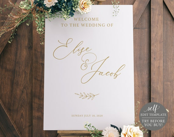 Wedding Welcome Poster Template, Instant Download, Welcome Sign Printable, 100% Editable, Elegant Calligraphy, TRY BEFORE You BUY