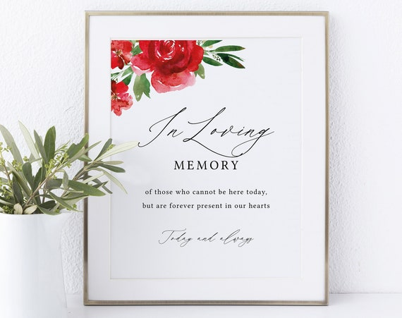 In Loving Memory Sign Template, Non-Editable Instant Download, Red Floral