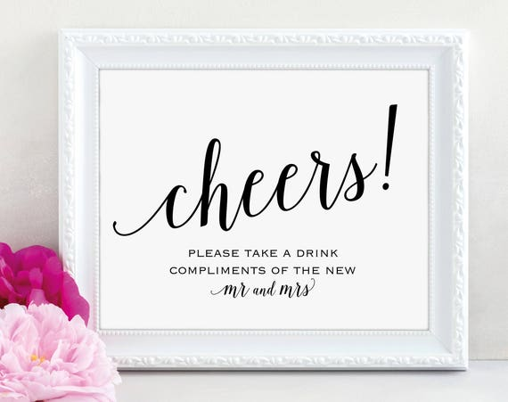 Cheers Sign, Mr and Mrs Sign, Drinks Bar Sign, Bar Sign, Wedding Printable, Wedding Bar Sign, Wedding Sign, PDF Instant Download, MM01-1