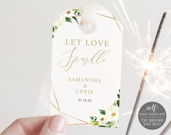 Sparkler Tag Template, White Floral, Editable Instant Download, TRY BEFORE You BUY