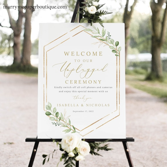 Greenery Unplugged Ceremony Sign Template, Hexagonal, Editable Wedding Sign Printable, Templett Instant Download, Try Before You Buy