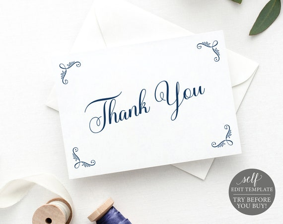 Thank You Card Template, FREE Demo Available, Editable Instant Download, Rustic Navy Folded