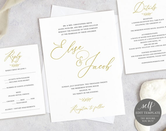Wedding Invitation Set Template, Rsvp & Details Card, TRY BEFORE You BUY, Printable Invitation Template, 100% Editable, Instant Download