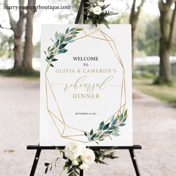 Rehearsal Dinner Welcome Sign Template, Greenery Geometric, Printable & Editable Sign, Try Before Purchase, Instant Download
