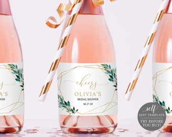 Mini Champagne Bottle Label Template, Greenery Geometric,  Editable Instant Download, TRY BEFORE You BUY
