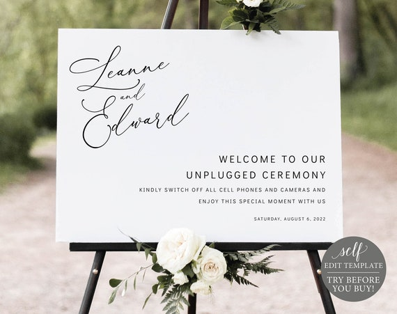 Unplugged Ceremony Sign Template, Minimalist Style, Printable, Order Edit & Download In Minutes, Try Before You Buy