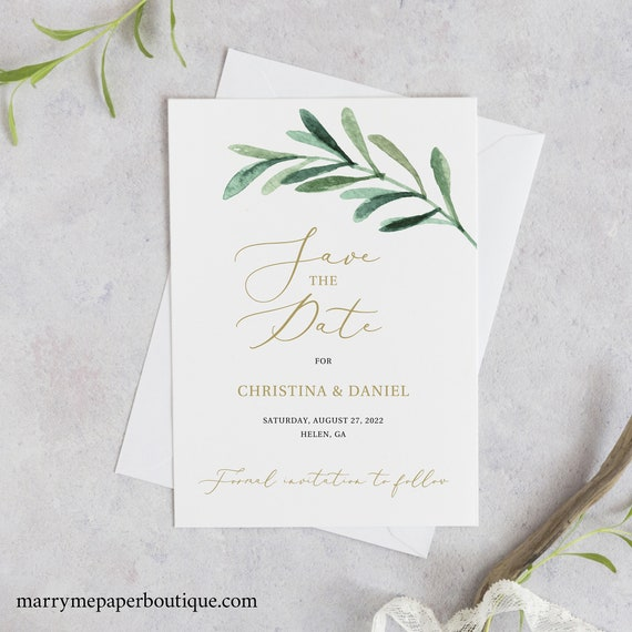 Save the Date Card Template, Greenery Leaf, Instant Download, Editable & Printable, Templett, Try Before You Buy