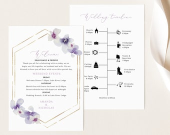 Wedding Itinerary Card Template, Delicate Lilac Flowers, Wedding Timeline Card, Printable, Purple Hydrangea, Templett INSTANT Download