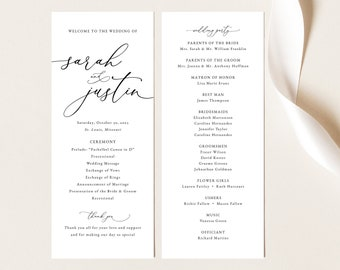Classic Wedding Program Template, Elegant Wedding Program Printable, Templett, Fully Editable, INSTANT Download