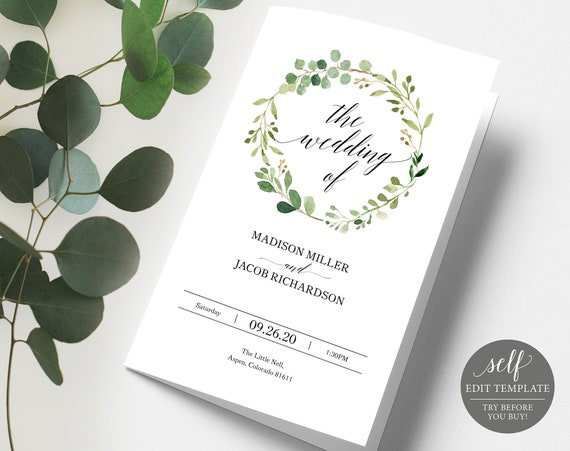 Greenery Wedding Program Template, TRY BEFORE You BUY, Wedding Ceremony Program Printable, 100% Editable, Folded Program, Instant Download