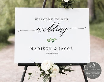 Wedding Welcome Sign Template, Greenery Leaf, TRY BEFORE You BUY, Editable Instant Download