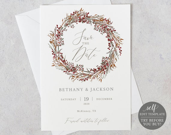 Save the Date Template, TRY BEFORE You BUY, Wedding Printable, Instant Download, Fully Editable