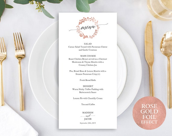 Rose Gold Menu Template, Printable Wedding Menu, Rose Gold Table Menu, Rose Gold Wedding Menu, Printable Menu, PDF Instant Download, MM07-7