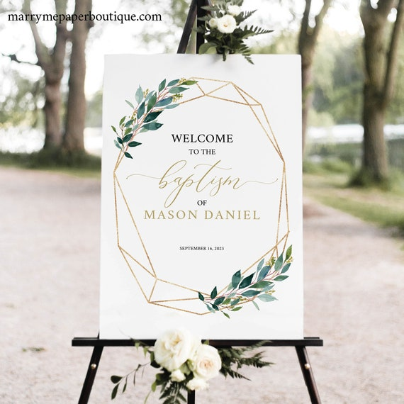Baptism Welcome Sign Template,  Editable, Printable Baptism Signage, Instant Download, Geometric Gold & Greenery, TRY BEFORE You BUY