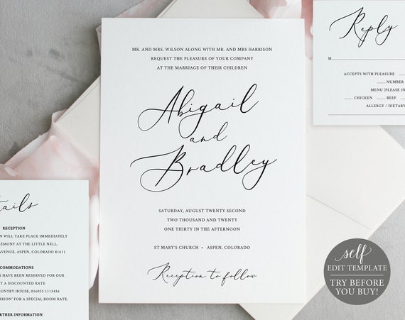 Elegant Wedding Invitation Set, TRY BEFORE You BUY, Rsvp & Details Card, 100% Editable, Printable Invitation, Instant Download