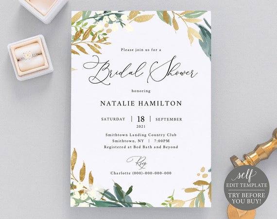 Bridal Shower Invitation Template, Gold & Green Floral, TRY BEFORE You BUY, 100% Editable Instant Download