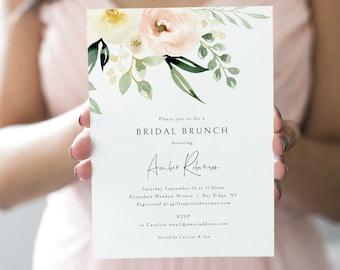 Bridal Brunch Invitation Template, Pink Floral Greenery, Ivory, Bridal Shower Brunch Invite, Printable, Editable, Templett INSTANT Download