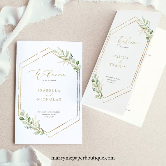 Wedding Program Template Folded, Greenery Hexagonal, Editable & Printable Instant Download, Templett, TRY BEFORE You Buy