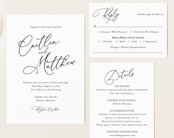 Calligraphy Wedding Invitation Template Set, Elegant Wedding, Invitation Set, Printable, Editable, Details, RSVP, Templett INSTANT Download